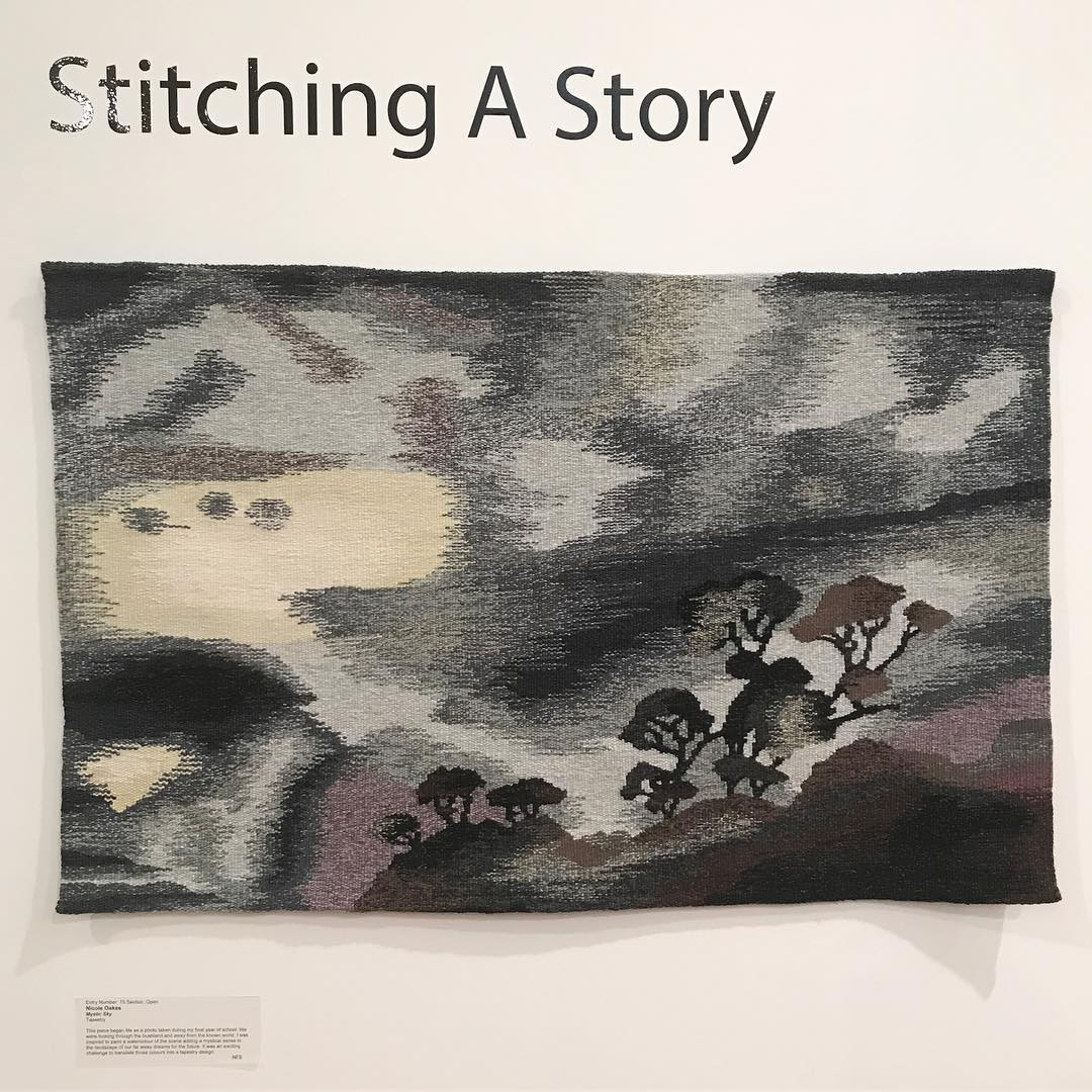 #NicoleOakes – Mystic Sky part of #StitchingaStory exhibition at #WangarattaArtGallery – #StitchUp #TextileFestival #Wangaratta #visitwangaratta #visitvictoria #textiles #fibre #tapestry #textileart #stitcherycentral #art #gallery